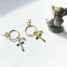 Cross + Queen Hoop Earrings, 14ct Gold Plate
