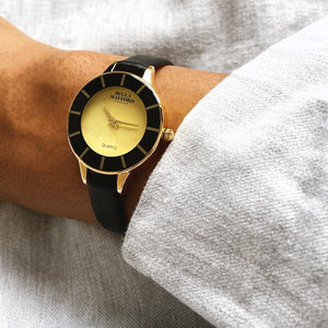Bold Spirit. Gold And Black Dial, Black Strap