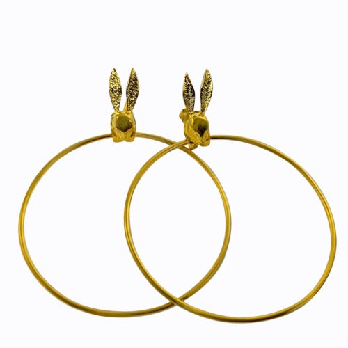 Bunny Rabbit Hoop Earrings, Gold