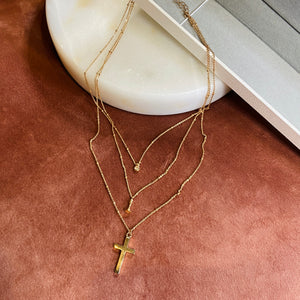 Triple Layer Necklace, Pave + Queen + Cross, Gold - Bella Mayford