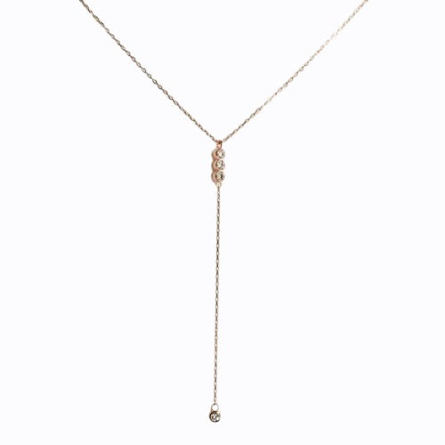 Pave Lariat Necklace, Rose Gold