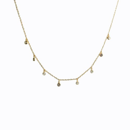 Pavé Points Necklace, 14ct Gold Plate