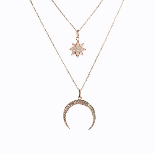 Pave Starburst + Crescent Moon Necklace, Rose Gold