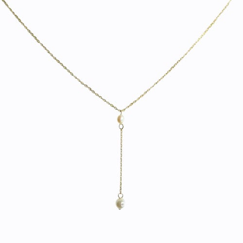 Pearl Lariat Necklace, 14ct Gold Plate