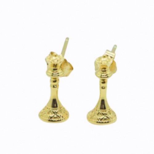 Queen Stud Earrings, 14ct Gold Plate