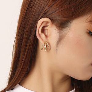 Layered C Stud, 14ct Gold Plate