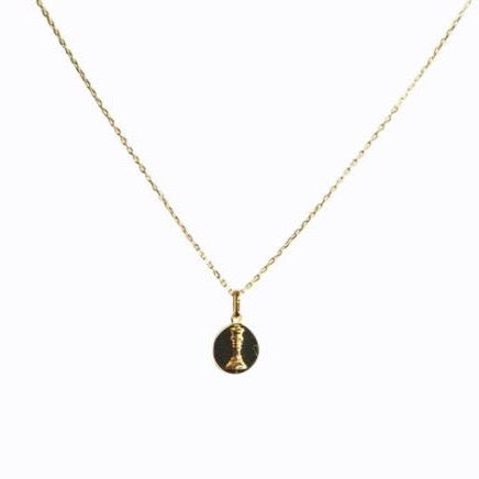 Signature Queen Coin Necklace, 14ct Gold Plate