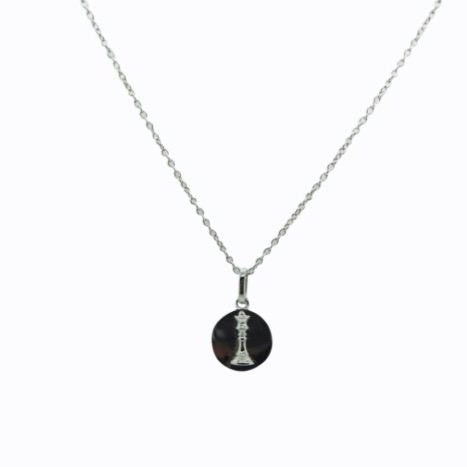 Signature Queen Coin Necklace, Sterling Silver