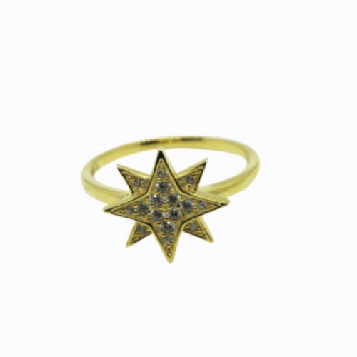 Starburst Pavé Ring, Gold