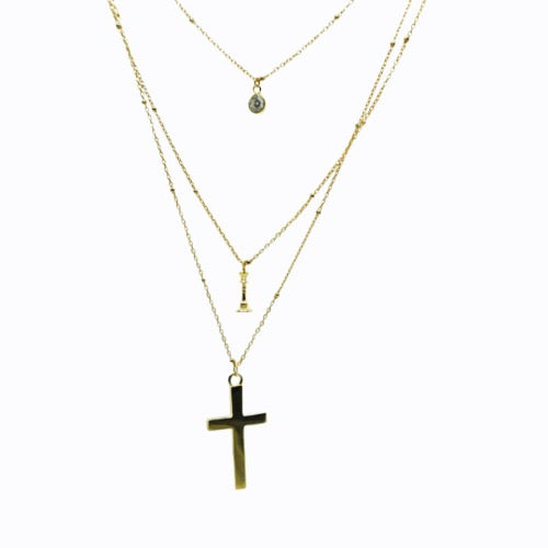 Triple Layer Necklace, Pave + Queen + Cross, Gold