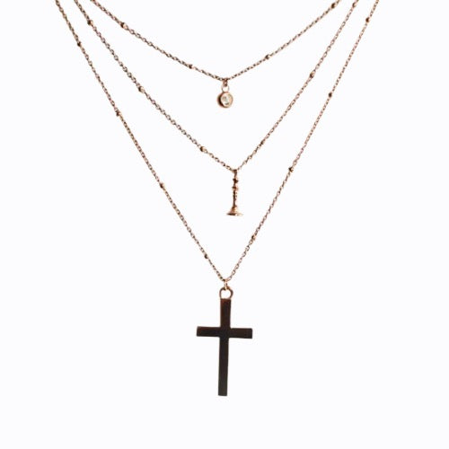 Triple Layer Necklace, Pave + Queen + Cross, Rose Gold