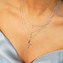 Triple Layer Necklace, Pave + Queen + Cross, Silver - Bella Mayford