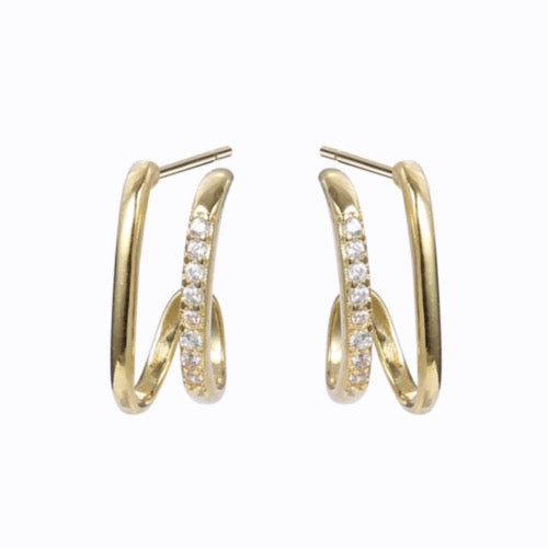 Twist Cuff Earrings, 14ct Gold Plate