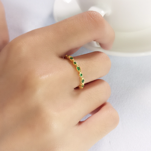 Green Gem Open Ring, Gold