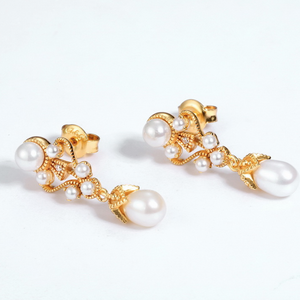 Elegant Lady Pearl Drop Earrings,  14ct Gold Plate