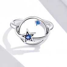 Star And Planet Ring, Sterling Silver