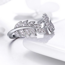 Double Leaf Open Ring, Sterling Silver