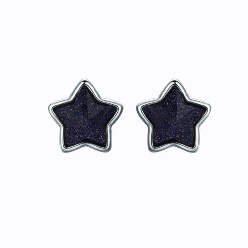 Star Stud Earrings, Sterling Silver