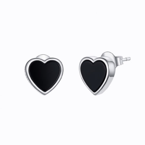 Black Agate Heart Stud Earrings, Sterling Silver