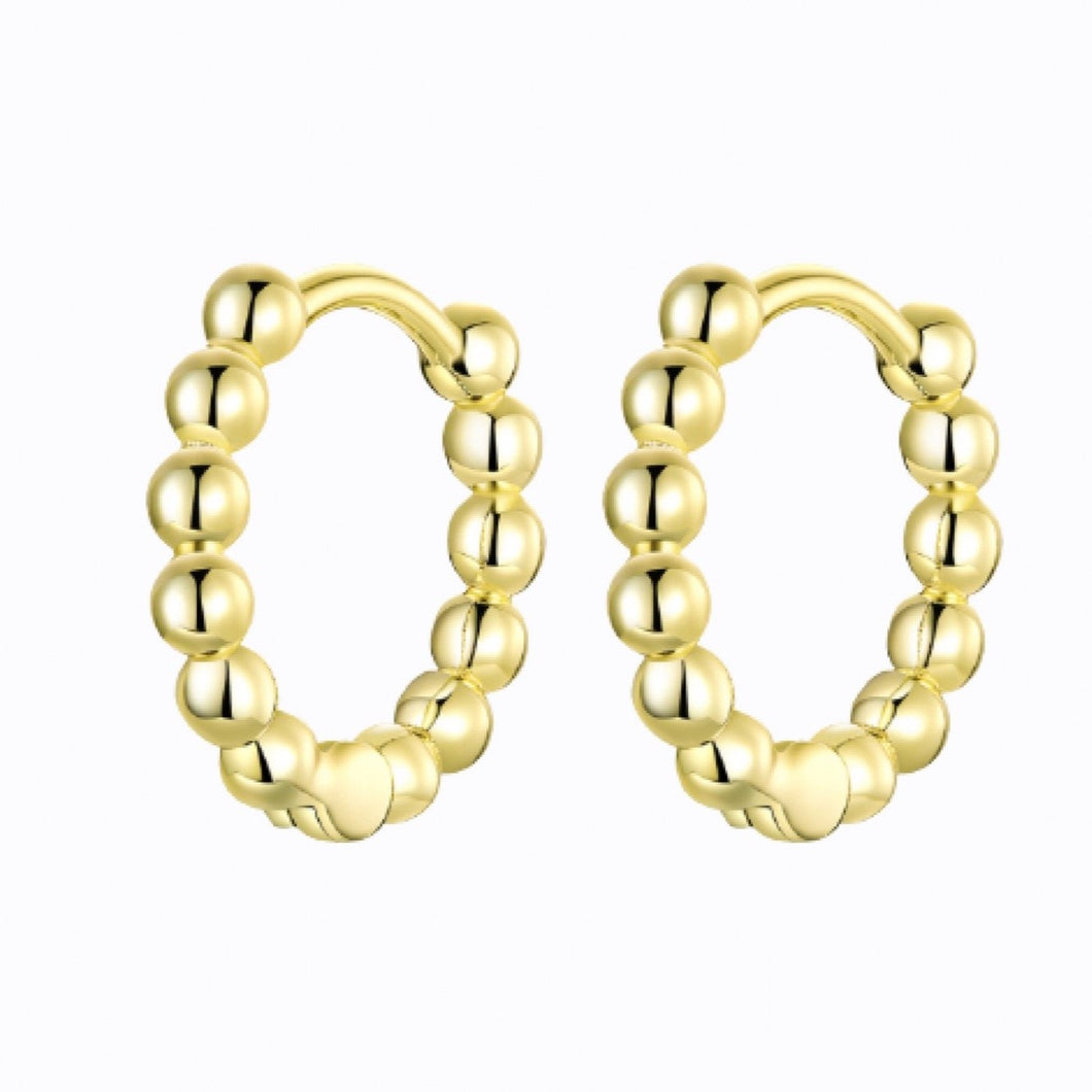 Single Beaded Hoop Earrings, 14ct Gold Plate