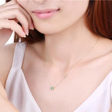 Square Emerald Necklace, 14ct Gold Plate