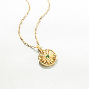 Emerald Star Pendant Necklace, 14ct Gold Plate