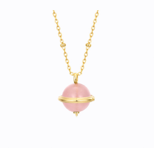 The World Is Yours Rose Quartz Gemstone Necklace, 14ct Gold Plate