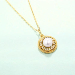Pearl Halo Pendant and Necklace,  14ct Gold Plate