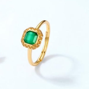 Stella Green Agate Ring, 14K Gold Plate