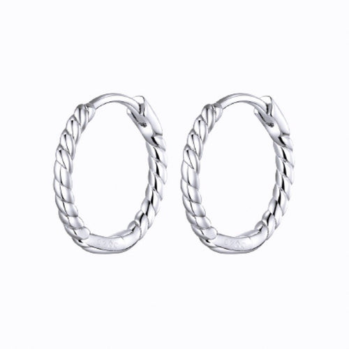 Twisted Mini Hoop Earrings, Sterling Silver