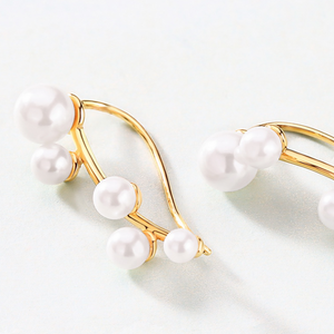 Pearl Crawler Earrings, 14ct Gold Plate