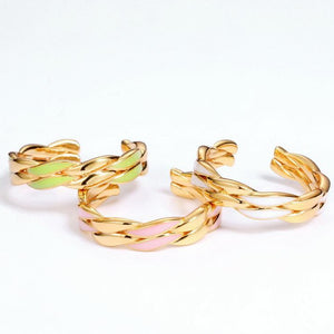 Pink Winding Twist Open Ring,  14ct Gold Plate