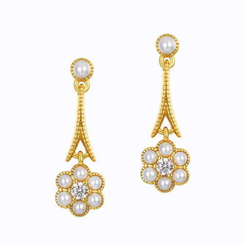 Shell Pearl Drops Earrings, 14K Gold Plate