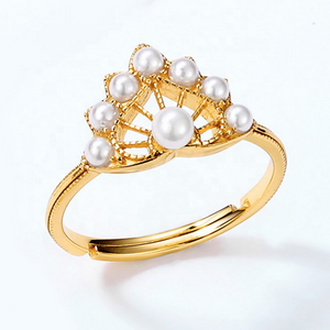 FreshWater Pearl Cluster Ring, 14ct Gold Plate