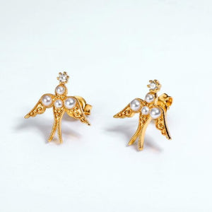 Bird in Flight Stud Earrings, 14ct Gold Plate