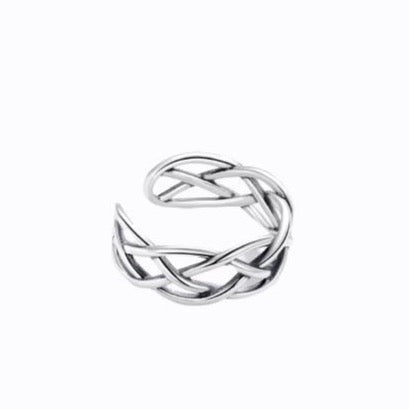 Woven Open Ring, Sterling Silver