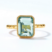 Green Amethyst Ring, 14ct Gold Plate