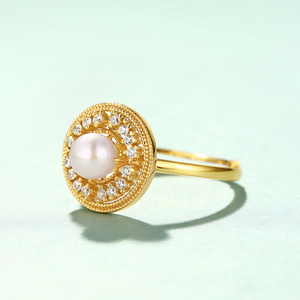 Pearl Halo Ring, 14ct Gold Plate