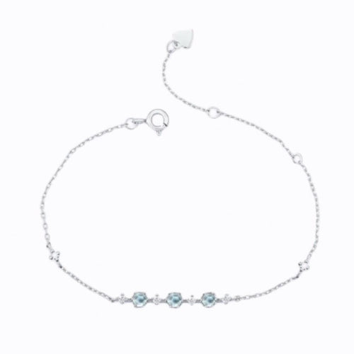Three Stone Topaz Bracelet, Sterling Silver