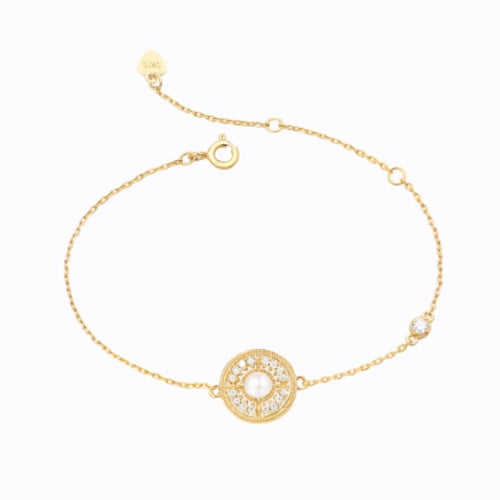 Pearl Halo Bracelet,  14ct Gold Plate