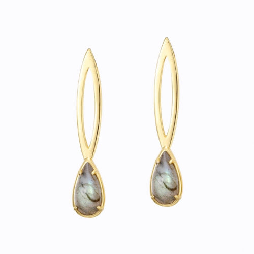 Hanging Raindrop, Earrings, 14ct Gold Plate