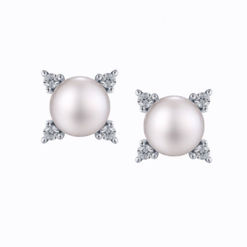 Pearl And 4 Stone Stud Earrings, Sterling Silver