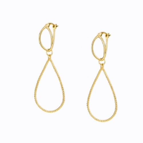 Crossover Double Hoop Earring, 14ct Gold Plate