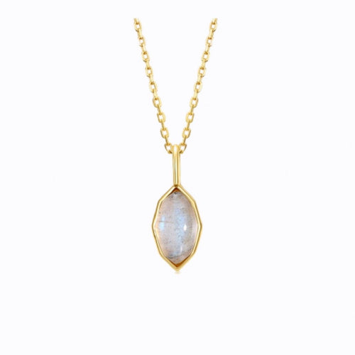 Grey Labradorite Gemstone Pendant Necklace,  14ct Gold Plate