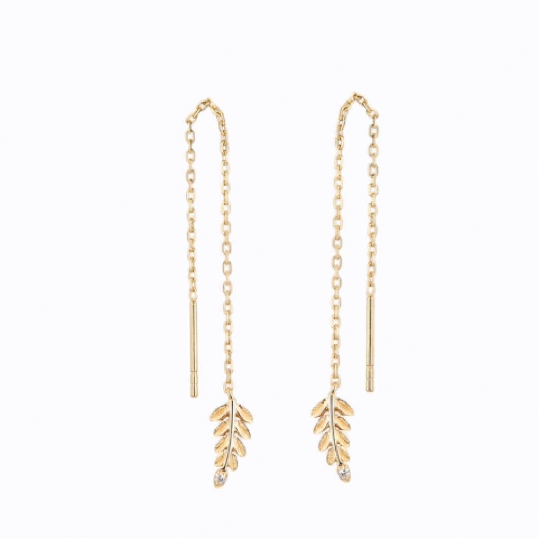 Gold Leaf Drop Earrings, 14ct Gold Plate