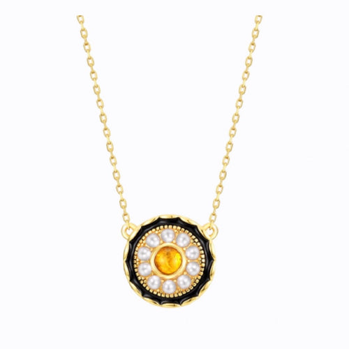 Amber And Shell Pearl Pendant Necklace, 14ct Gold Plate  BY BELLA MAYFORD