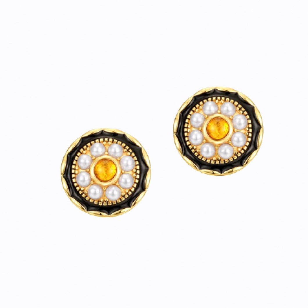 Amber And Shell Pearl Stud Earrings, 14ct Gold Plate