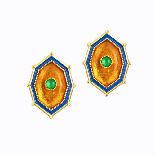 Ablaze Stud Earrings With Amber And Green Agate,  14ct Gold Plate