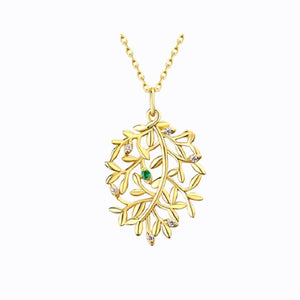 Tree Of Life With Emerald Heart Pendent,14K Gold Plate