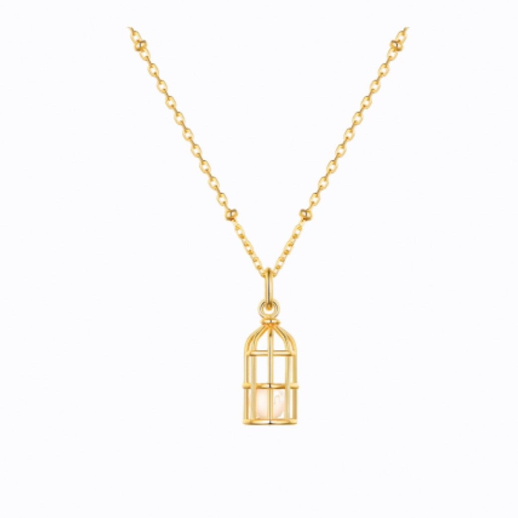 Caged Pearl necklace, 18ct Gold Plate
